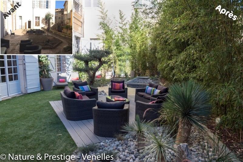petit jardin de 180 m2 aménagé par Nature et Prestige