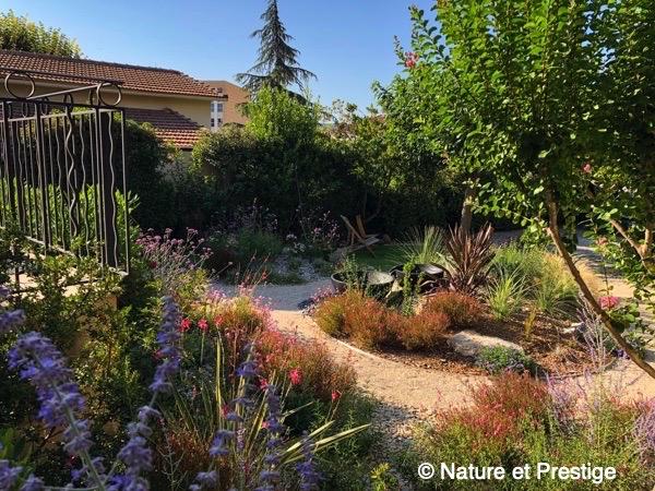 un jardin méditerranéen composé de vivaces, graminées et plantes exotiques à Aix en Provence