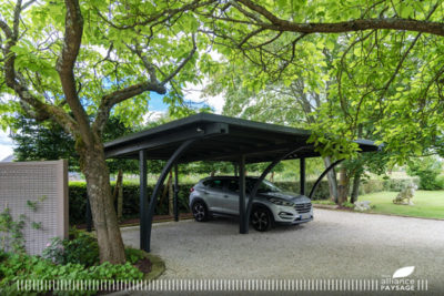 Parking Carport en gravillons stabilisés